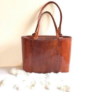 Vintage African Handmade Leather Bucket Tote Bag